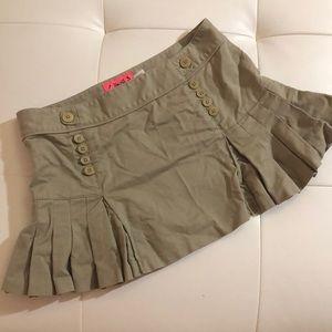Juicy couture khaki 0 mini pleated skirt pleated